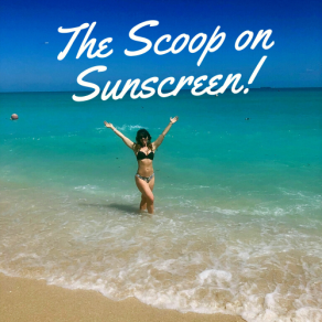 the scoop on sunscreen with female in the ocean water